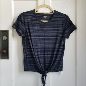 MADEWELL Navy Tie Front Cotton Tshirt Sz XS